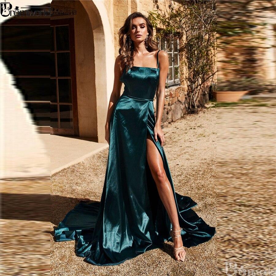 Bleu Royal 2019 longues robes de bal de moins de 100 Simple une ligne pas cher robe de bal haute fente bretelles Spaghetti croix dos robe de soirée