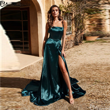 Royal Blue 2019 Long Prom Dresses Under 100 Simple A Line Cheap Gown High Slit Spaghetti Straps Cross Back Evening Dress