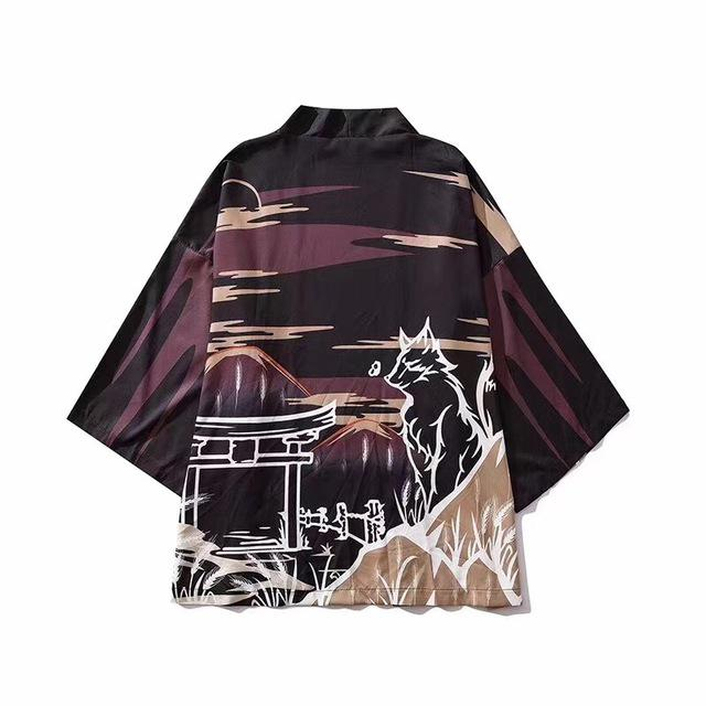 Japanese Kimono Men Haori Obi Clothes Samurai Clothing Shirt Blouse Yukata Male Print Hip Hop Kimono Cardigan