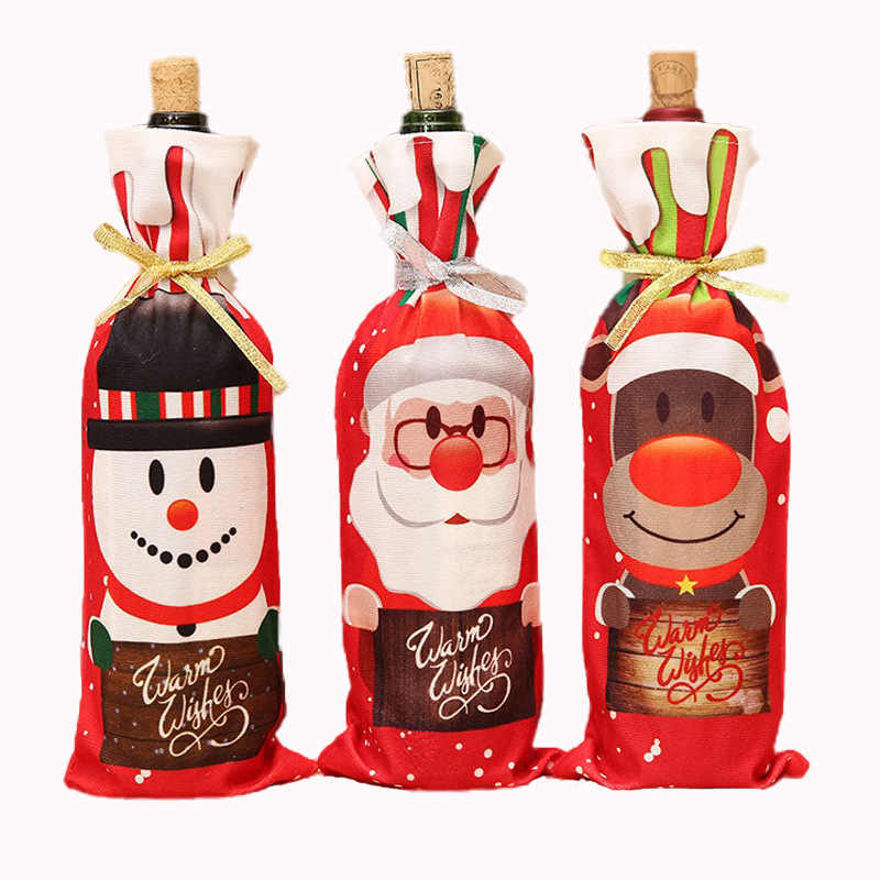 NEW Christmas Decorations for Home Claus Wine Bottle Cover Snowman Stocking Gift