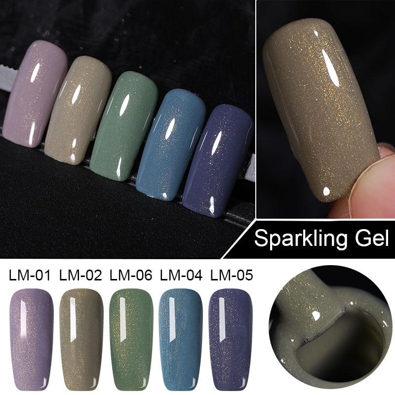 LEMOOC 8ml Glitter Sequins Holographic Sparkling Nail Gel Polish Laser Shimmer Soak Off UV LED Gel Lacquer Manicure Design
