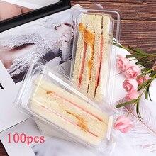 Caixa de embalagem de cozimento de plástico descartável portátil da caixa do sanduíche dos pces 100 para caixas de empacotamento da comida da festa de casamento da caixa do bolo