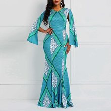 African Long Sleeve Floral Mermaid Dress Elegant Party Maxi Dresses Women Autumn 2019 Floor-Length Robe Vintage Fashion New