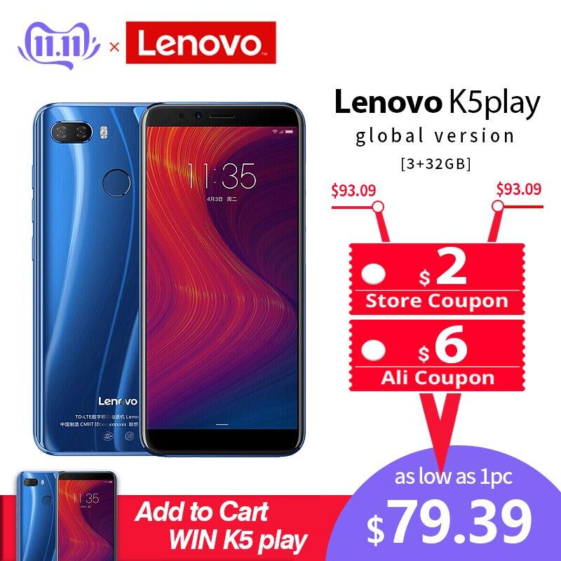 Lenovo téléphone portable 3GB 32GB K5 Play Face ID 4G Smartphone 5.7 pouces Snapdragon Octa Core caméra arrière 13MP 2MP téléphone portable mondial