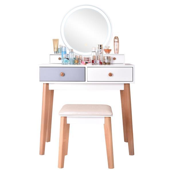 Dresser With Mirror Bedroom Light Luxury Real Wood Dressing Table Simple Makeup Table With Lamp Three Color Adjustable 2