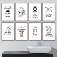 Canvas Painting Sign Toilet Rules Toilet-Humour-Picture Poster Prints Wall-Art Funny