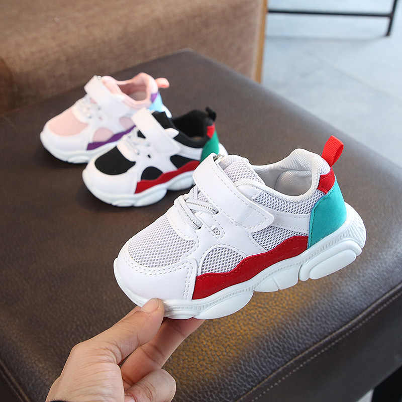 Children Sports Shoes Boys Spring Damping Casual Shoes Toddler Girls Slip Patchwork Breathable Sneakers Kids Running Shoes