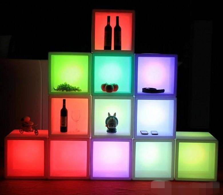 Luminous LED Rechargeable Display Bar Cabinet 40CMx40CMx40CM Colorful Changed Wine Cabinet Bars Disco Party Supplies