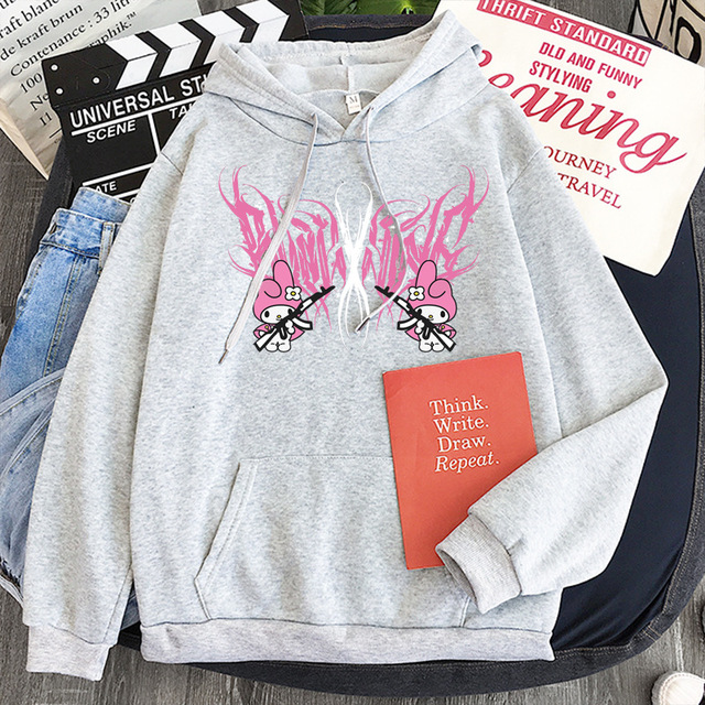 New mymelody dark women's hooded long-sleeved trendy gothic style plus cashmere winter Harajuku style hooded sweatshirt 5
