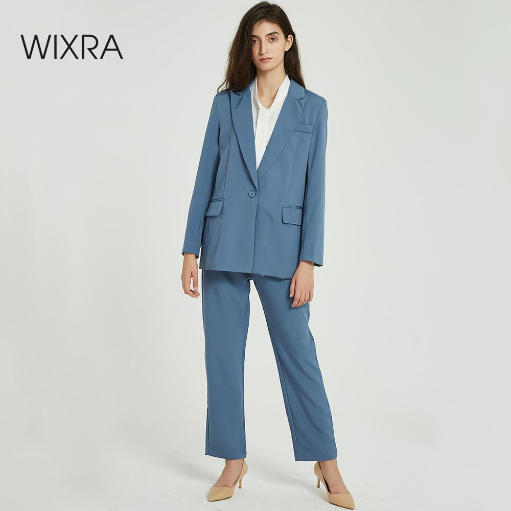 Wixra Women Classic Solid Blazer Autumn Spring Single Breasted Office Lady Long Sleeve Stylish Coat Ladies Clothing