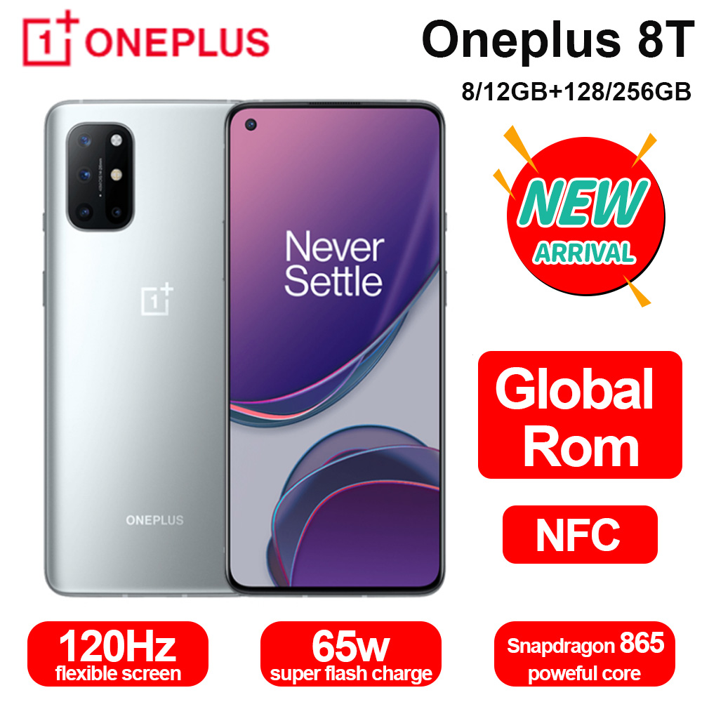 Global Rom Oneplus 8T 8 T 5G SmartPhone 120Hz Fluid AMOLED Display Snapdragon 865 65W Warp Charge One plus 8T Mobile Phone