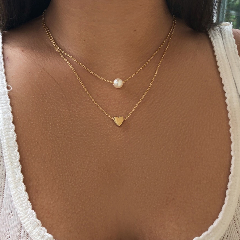 New Bohemia Simple fashion Imitation pearl love Heart Double layer Clavicle chain necklace accessories female Jewelry Wholesale