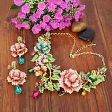 Tuliper Rose Bloem Ketting Oorbellen Set Voor Vrouwen Crystal Teardrop Sieraden Set Sieraden Party Gift