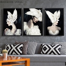 Black White Fashion Woman Pigeon Wings Hat Abstract Canvas Poster Print Nordic Style Painting Picture Modern Home Decor