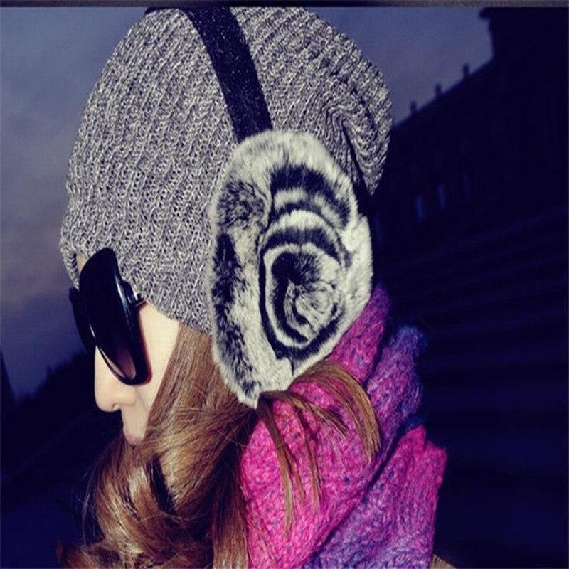 2019 New High Quality Unisex Disc Flower Real Rex Rabbit Fur Earmuffs Womens Real Fur Ear Warmer Winter Warm Earmuffs AD0741