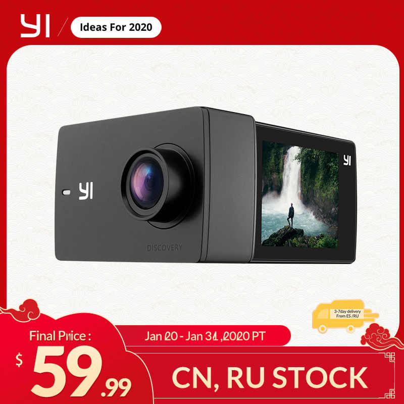 Yi Discovery Action Camera 4K 20fps Sports Cam 8MP 16MP dengan 2.0 Layar Sentuh Built-In Wi-fi 150 Derajat Ultra Wide sudut