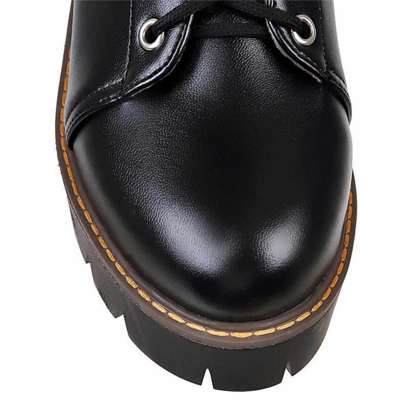 YMECHIC 2019 gotik Punk kış bayan ayakkabı tıknaz yüksek topuklu beyaz siyah dantel Up platformu Biker ayak bileği savaş botları kadın