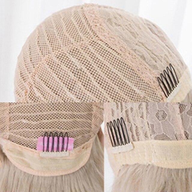 CosplaySalon 60CM de Long Lolita droite blanche synthétique frange perruque Kawaii haute température japonais Cosplay cheveux