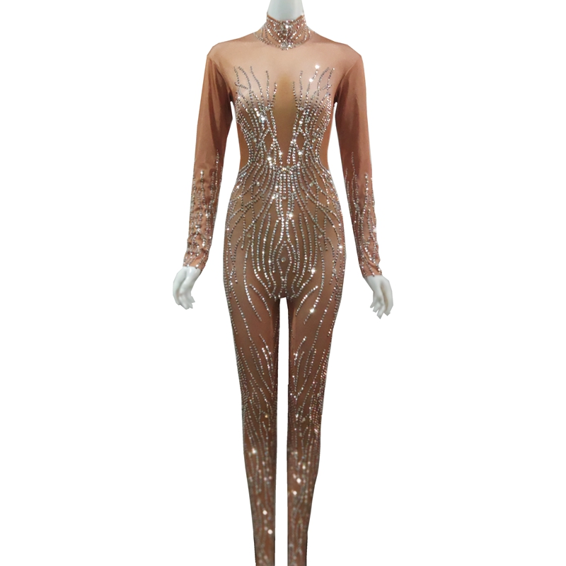 Shining Silver Rhinestones Nude Jumpsuit Women Sexy Performance Bodysuit Female Rompers Stage Wear Dance Wear Nightclub Outfits