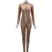 Shining Silver Rhinestones Nude Jumpsuit Women Sexy Performance Bodysuit Female Rompers Sta