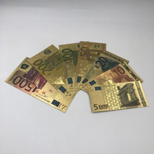 HOT 1pc Waterproof 24K gold 500 200 100 50 20 10 5 Euro Banknote Bill for wedding return souvenir Gift and movie prop money