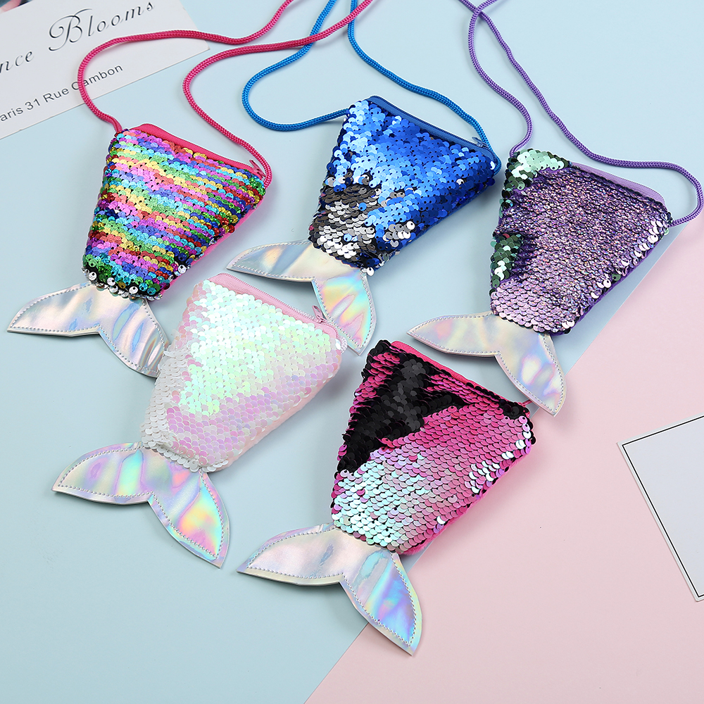 Messenger-Bag-Accessories Mermaid-Tail Kids Coin-Purse Shoulder-Bag Gift Sequin Zipper