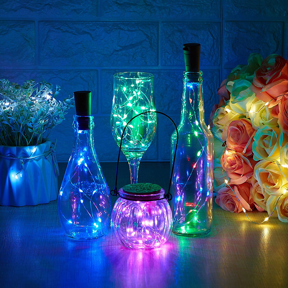 Battery Powered Copper Wire Garland Wine Bottle Lights With Cork 10/20 LED Colorful String Light For Halloween Christmas Holiday