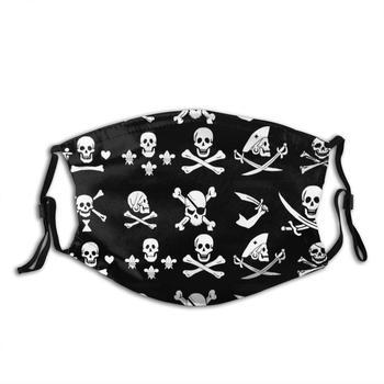 Black Pirate Banners Skull , Crossed Bones , Swords Adult Kids Anti Dust Filter Diy Mask Pirate Pirate Flags Banner Talk Like A