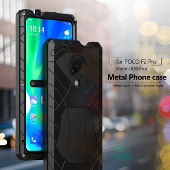 For Xiaomi Mi POCO F2 Pro Redmi K30 Pro Phone Case Hard Aluminum Metal Heavy Duty Protection Back Cover with Tempered Glass