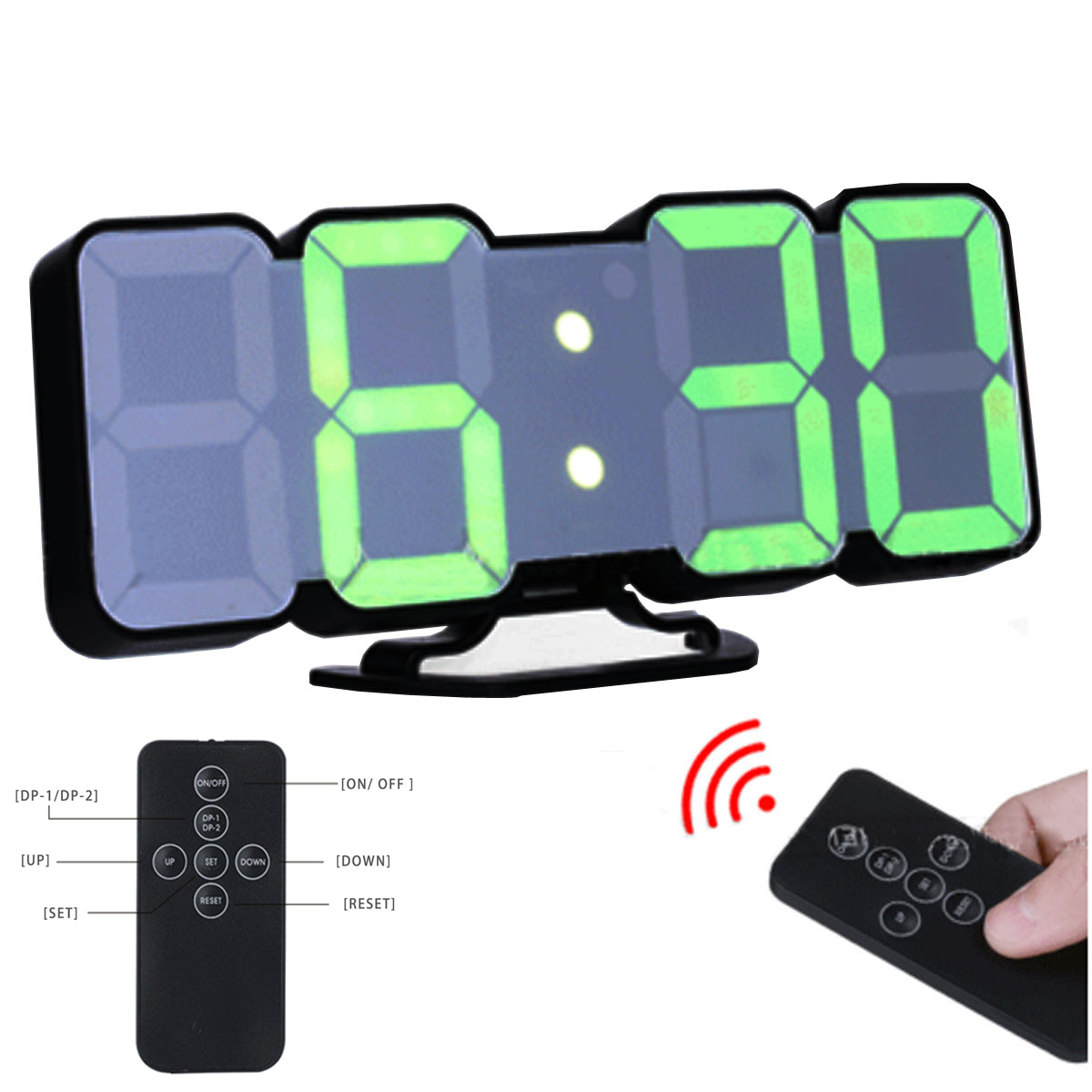 Eaagd 3d 무선 원격 디지털 벽 알람 시계, led 디지털, 음성 제어 모드, 컨트롤러의 115 색 변형-에서알람 시계부터 홈 & 가든 의  그룹 1