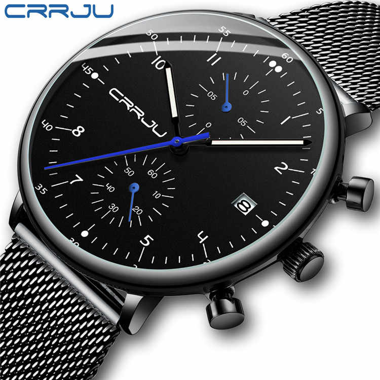 CRRJU New Men's Sports Watches Fashion Luminous Multi-function Chronograph Mesh Belt Business Wristwatch Relogio Masculino