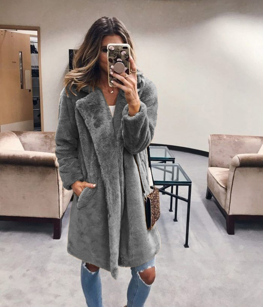 JODIMITTY Winter Women Faux Fur Coat Luxury Long Fur Coat Loose Lapel OverCoat Jacket Thick Warm Plus Size Female Plush Fur