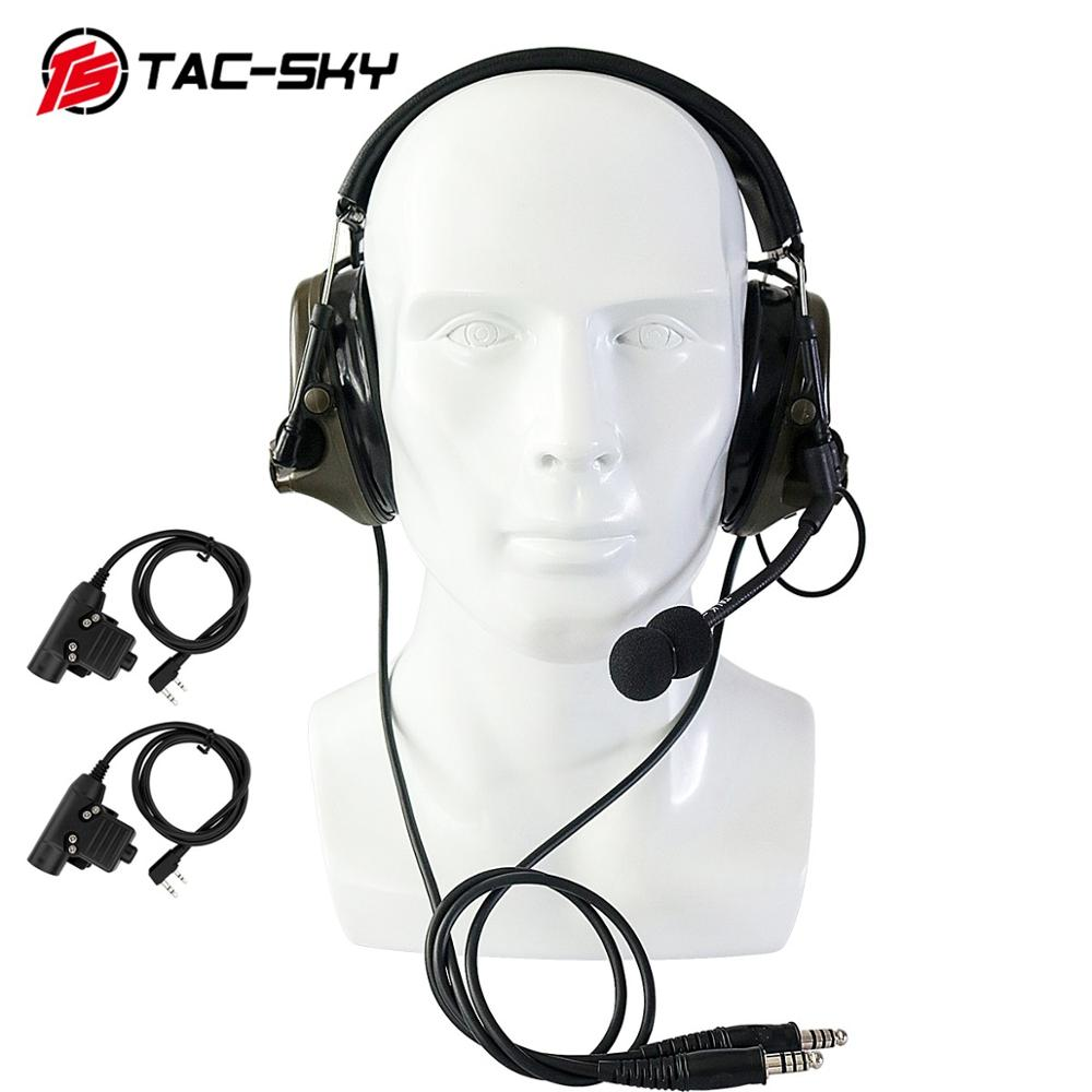 TAC-SKY U94 PTT Kenwood Plug+COMTAC III Double Pass Silicone Earmuff Version Noise Reduction Pickup Military Tactical Headset FG
