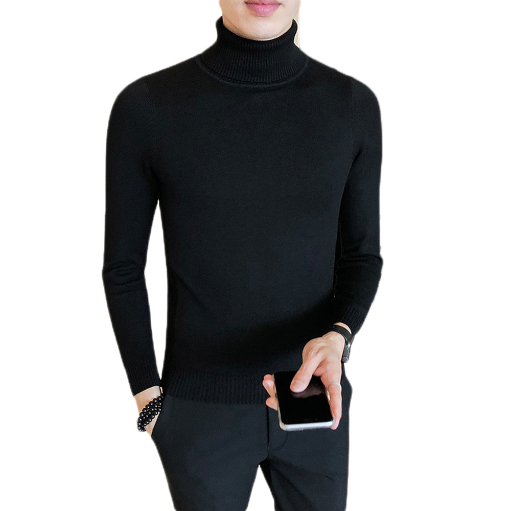 Turtleneck Pullover Sweater Men Clothes Long Sleeve Male Slim Fit Casual Man Autumn Winter Solid Color Knitted Sweater
