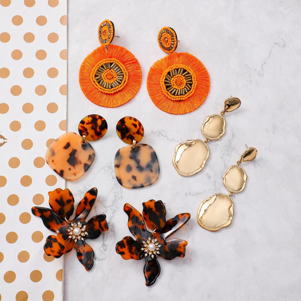 Unique perles de rocaille Orange tissé couches rondes gland boucles doreilles écaille de tortue résine fleur déclaration lisse métal boucles doreilles