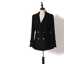 2020 spring autumn Women black tweed blazer double breasted office lady sexy