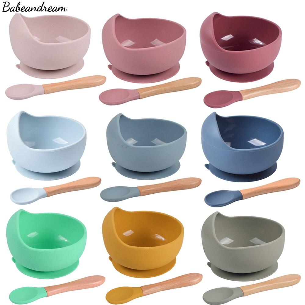 Детские чаши Ложка силиконовая посуда для детей, деревянная ручка, силикон ложка чашу вакуумные силиконовые формочки для обеда для кормлен...