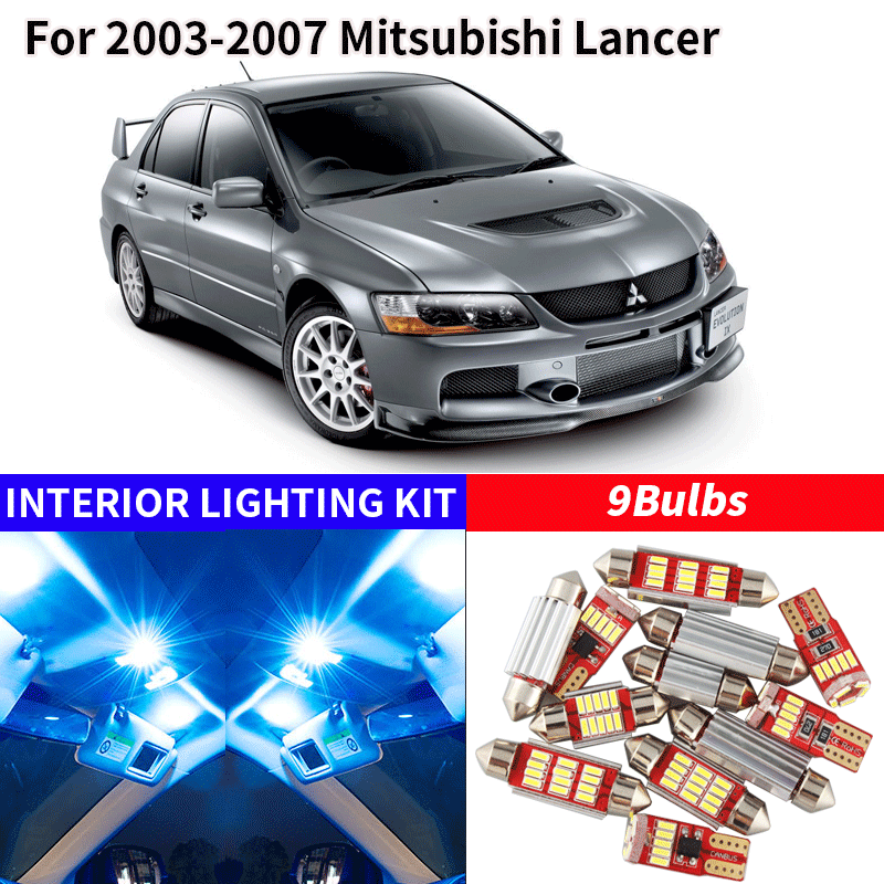 9x White LED Interior Lights Package Kit For 2007-2017 Mitsubishi Outlander