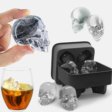 Best Sellers 3D Skull Silicone Mold DIY Ice Maker Mold Kitchen Homemade Popsicle Ice Cube Silicone Mold Ice Cube Maker Ice Tray round sphere ice mold silicone ice cube ball maker silicone ice cube tray pp whisky drink beverage kitchen tools