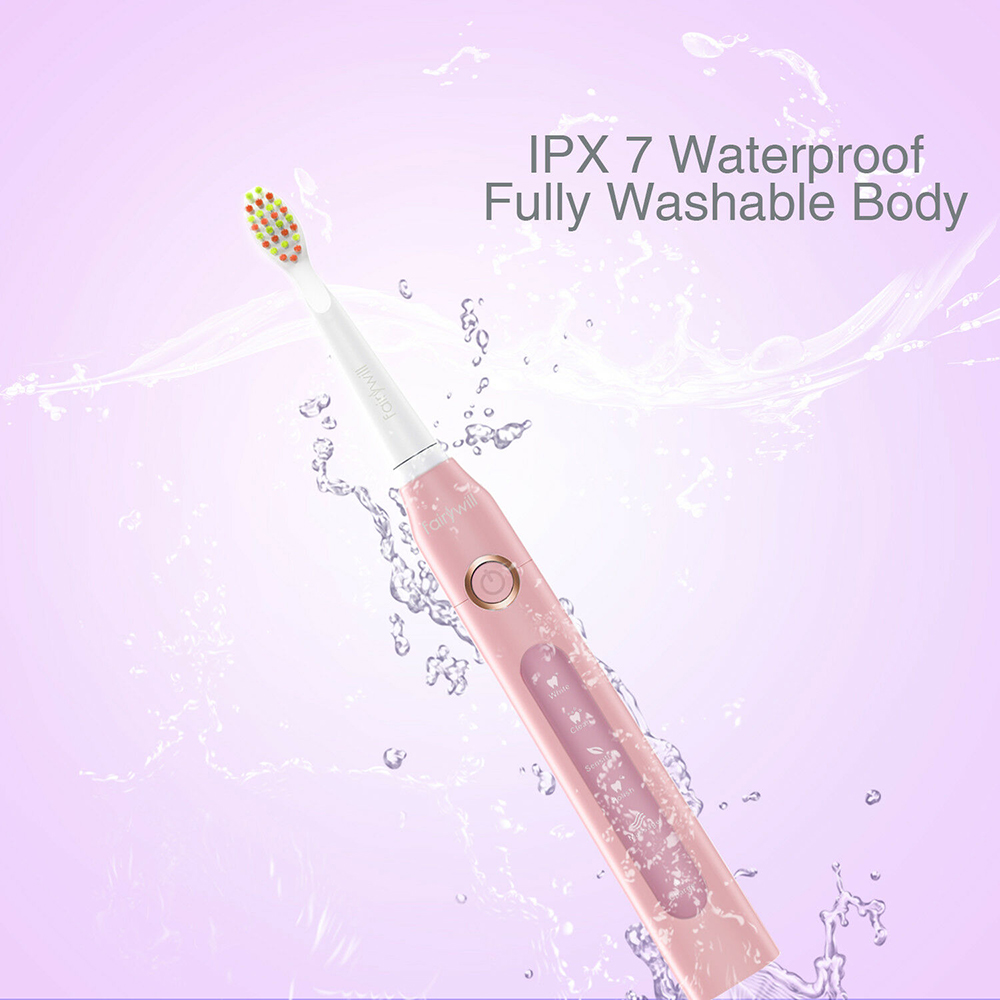 Fairywill Sonic Electric Toothbrushes USB Charger 5 Modes Smart Timer Rechargeable Whitening Toothbrush for Adults and Kids
