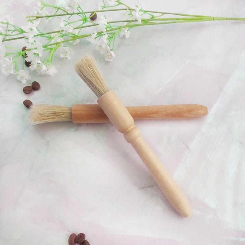 High Quality Coffee Brush Wood Handle Natural Bristles Wood Dusting Brush Coffee Grinder Machine Cleaning Brush