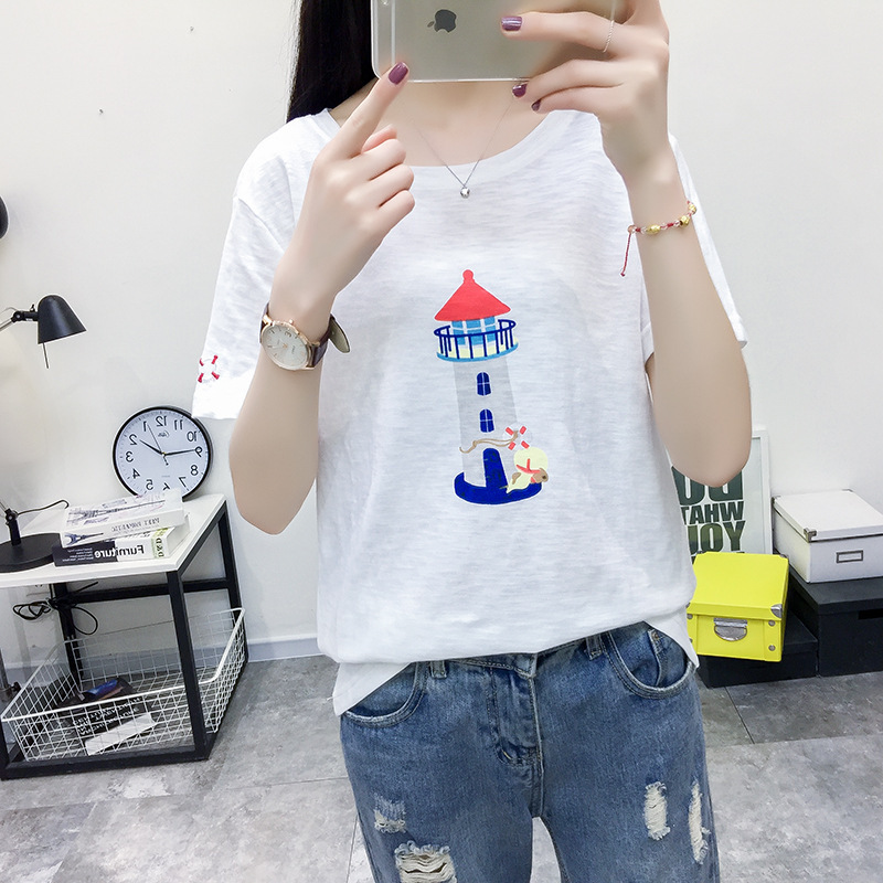 Women's Lighthouse Embroidery Cotton T Shirts 2020 Spring Femme Short Sleeve O-Neck Lace Up T Shirt Femme Casual Loose Tops