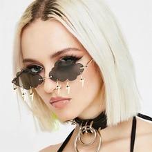 2020 Fashion Rimless Sunglasses Women Vintage Clouds Tassel