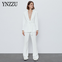 Office ladies White Deep V-neck Blazer With belt High waist Women Wide leg pants Elegant Two piece set Chic 2020 New YNZZU 9O181