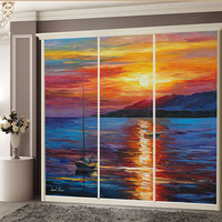 Custom Size Static Cling Window Film Oil Painting Style Removable Decorative Foil For Home Office Restaurant Store 70cmx100cm