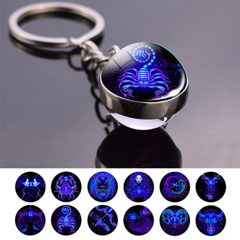 12 Zodiac Signs Keychain Aquarius Pisces Aries Taurus Gemini Cancer Leo Virgo Libra Scorpio Constellation Glass Ball Keychain