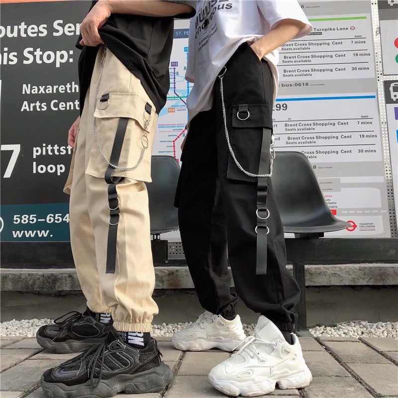 Nieuwe Unisex Vrouwen Mannen Cargo Broek Harajuku Keten Zakken Enkel Broek Hoge Taille Keten Hip-Hop Safari Stijl Harem broek