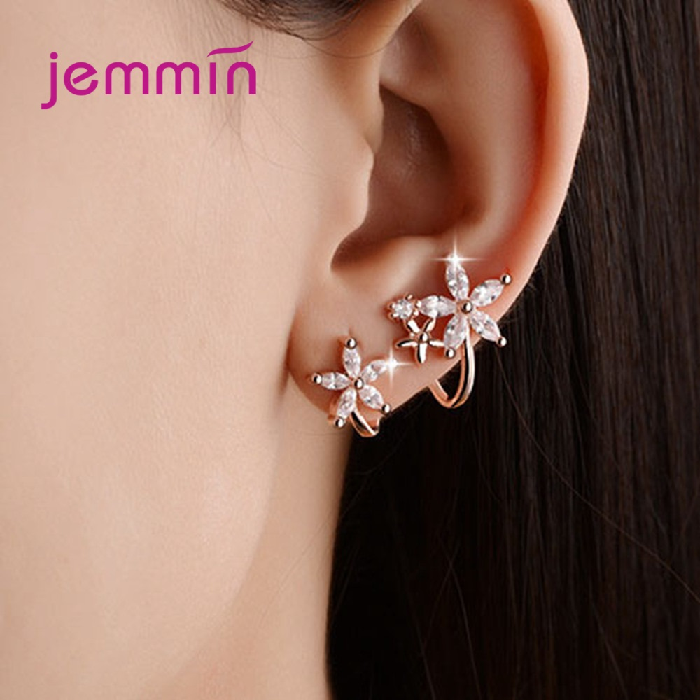 925 Sterling Silver Stud Earring Set For Women Girls Wedding Engagement Fashion Jewelry Cubic Zirconia Cute Flower Shape(China)