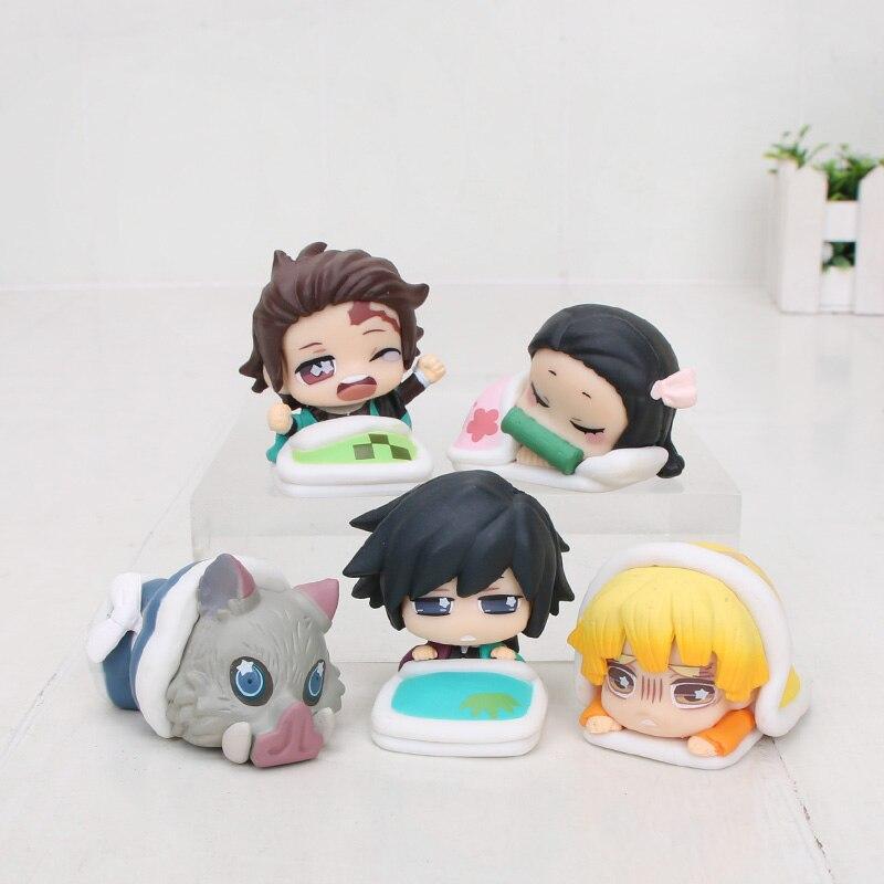 5pcs//set Demon Slayer Kamado Nezuko Kimetsu no Yaiba PVC Figure Anime Toy Gifts