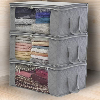 Folding Fabric Storage Box Dirty Clothes Collecting Case With Zipper For Toys Quilt Storage Box Clear Moisture-proof Organizer